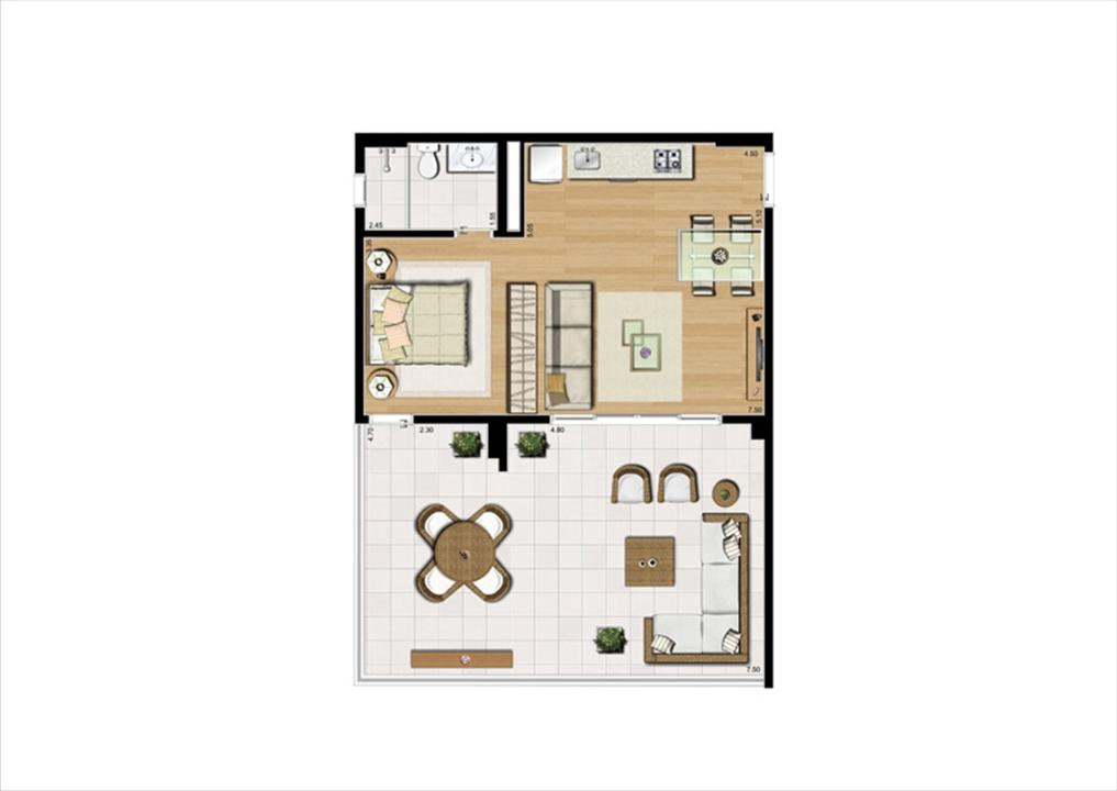 Planta studio inteligente de 80 m² | Home Boutique – Apartamentono  Brooklin - São Paulo - São Paulo