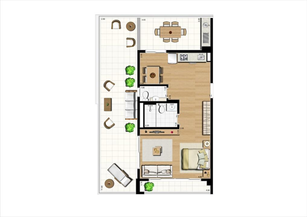 Planta studio inteligente de 96 m² | Home Boutique – Apartamentono  Brooklin - São Paulo - São Paulo