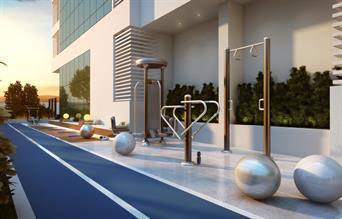 Perspectiva Ilustrada do Terraço de Apoio ao Fitness