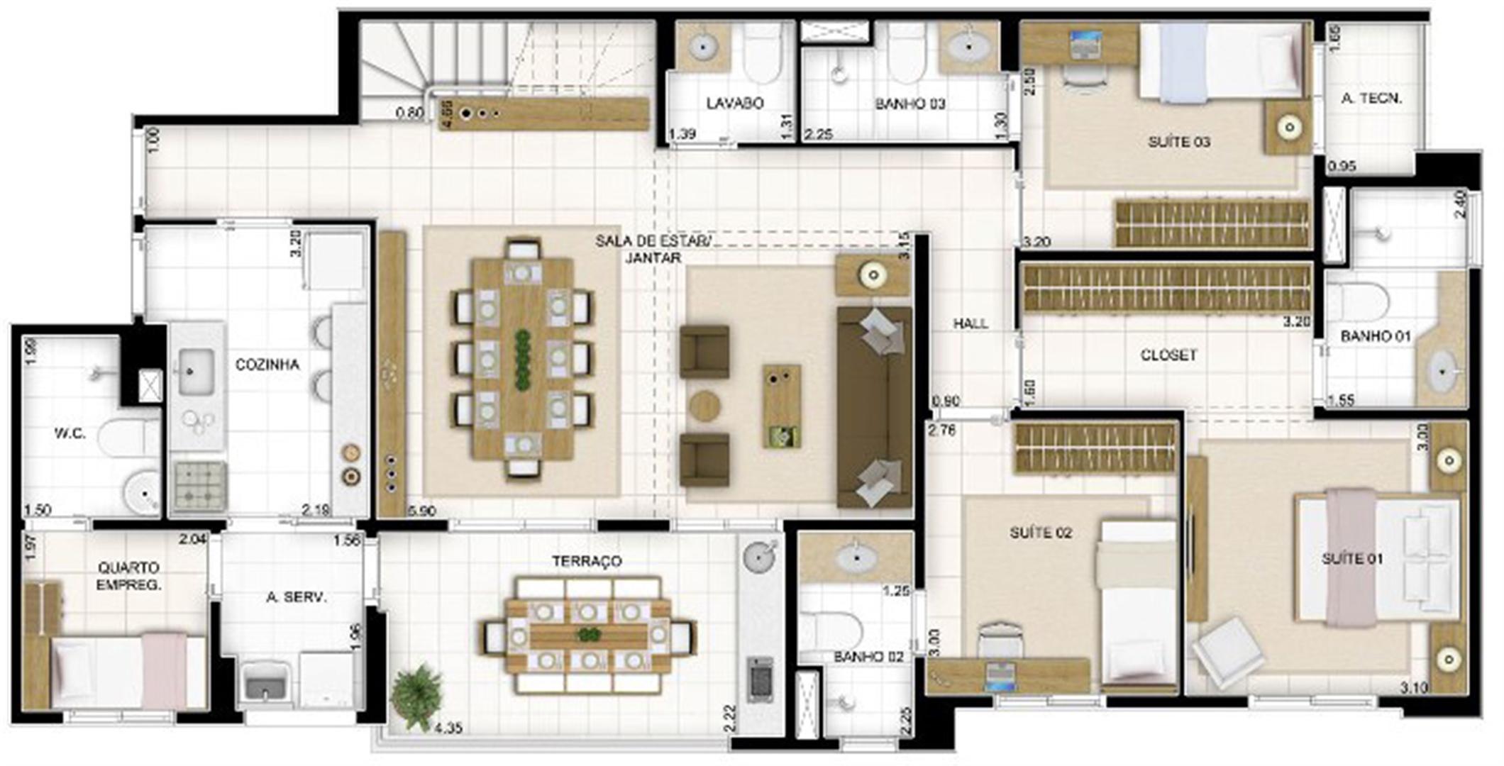 Duplex Andar Inferior 3 quartos Sala Ampliada 236 m² | Quartier Lagoa Nova – Apartamento na  Lagoa Nova - Natal - Rio Grande do Norte