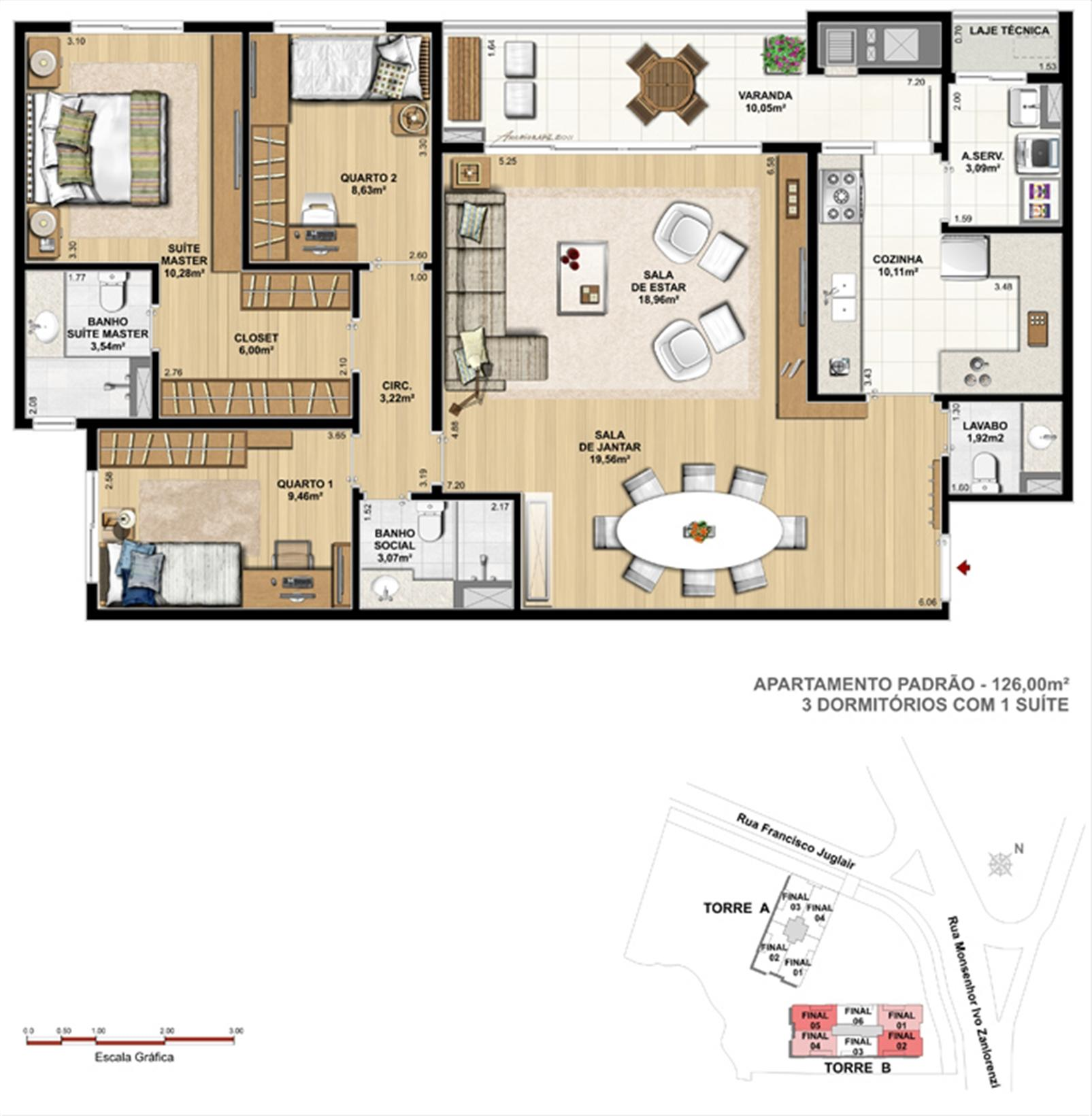 Torre 1  - 3 dormitórios com 1 suíte | Reserva Juglair Ecoville – Apartamentono  Ecoville - Curitiba - Paraná