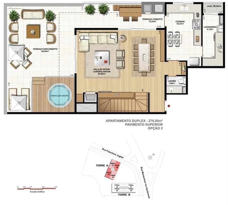 Torre 1 - 2 dormitórios com 2 suítes - Cobertura inferior - Tipo opção 2 | Reserva Juglair Ecoville – Apartamentono  Ecoville - Curitiba - Paraná