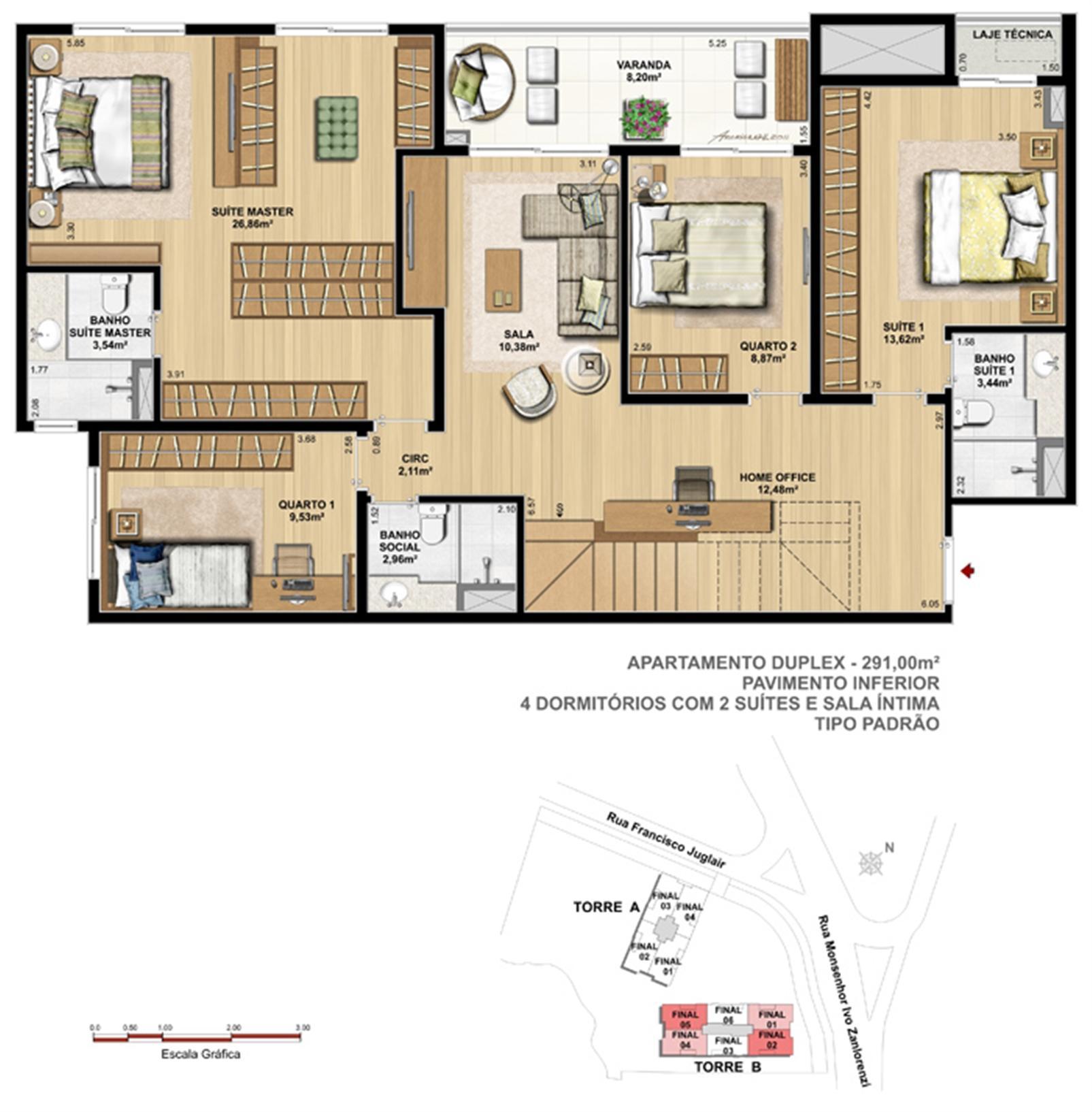Torre 1 - 2 suítes - Cobertura superior - Tipo padrão | Reserva Juglair Ecoville – Apartamentono  Ecoville - Curitiba - Paraná