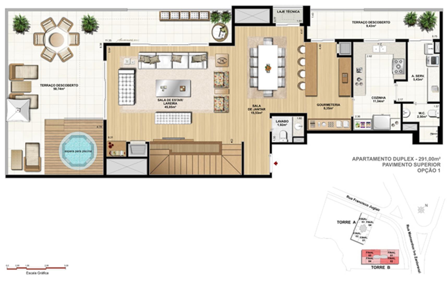 Torre 1 - 3 dormitórios com 3 suítes - Cobertura inferior - Tipo opção 1 | Reserva Juglair Ecoville – Apartamento no  Ecoville - Curitiba - Paraná
