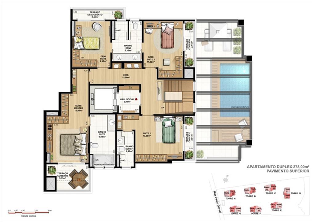 Duplex  - 278 m² pavimento superior   Ópera Unique Home – Apartamentono  Ecoville - Curitiba - Paraná