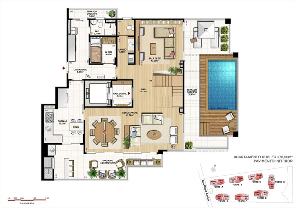 Duplex - 278 m² pavimento inferior    Ópera Unique Home – Apartamentono  Ecoville - Curitiba - Paraná