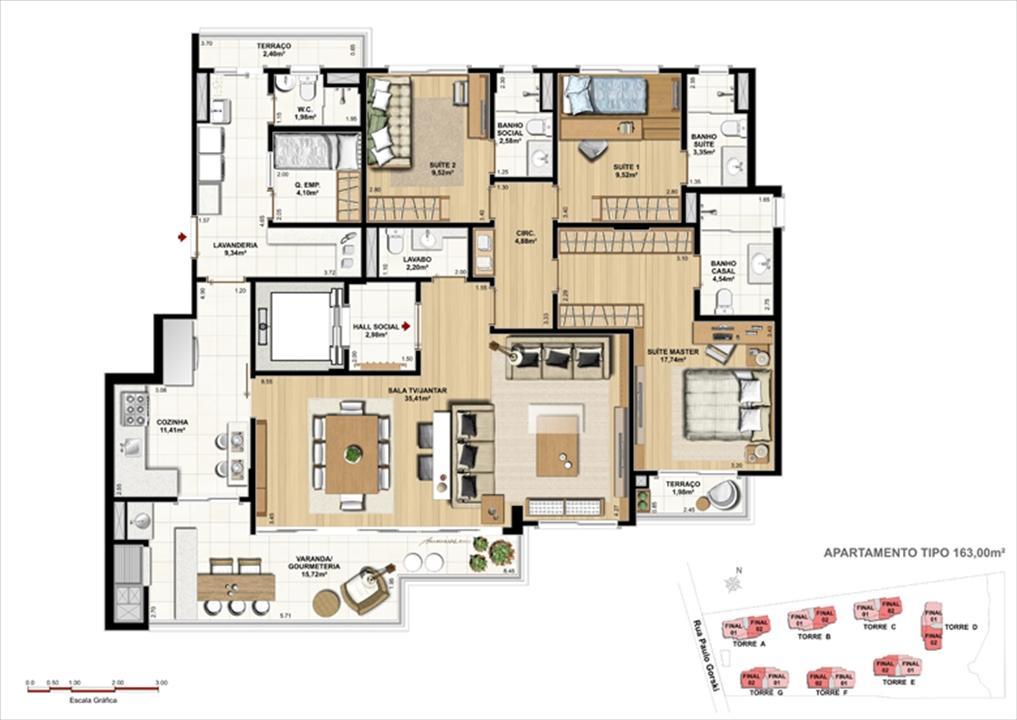 Padrão Tipo e Perspectiva ilustrada da implantação   Ópera Unique Home – Apartamentono  Ecoville - Curitiba - Paraná