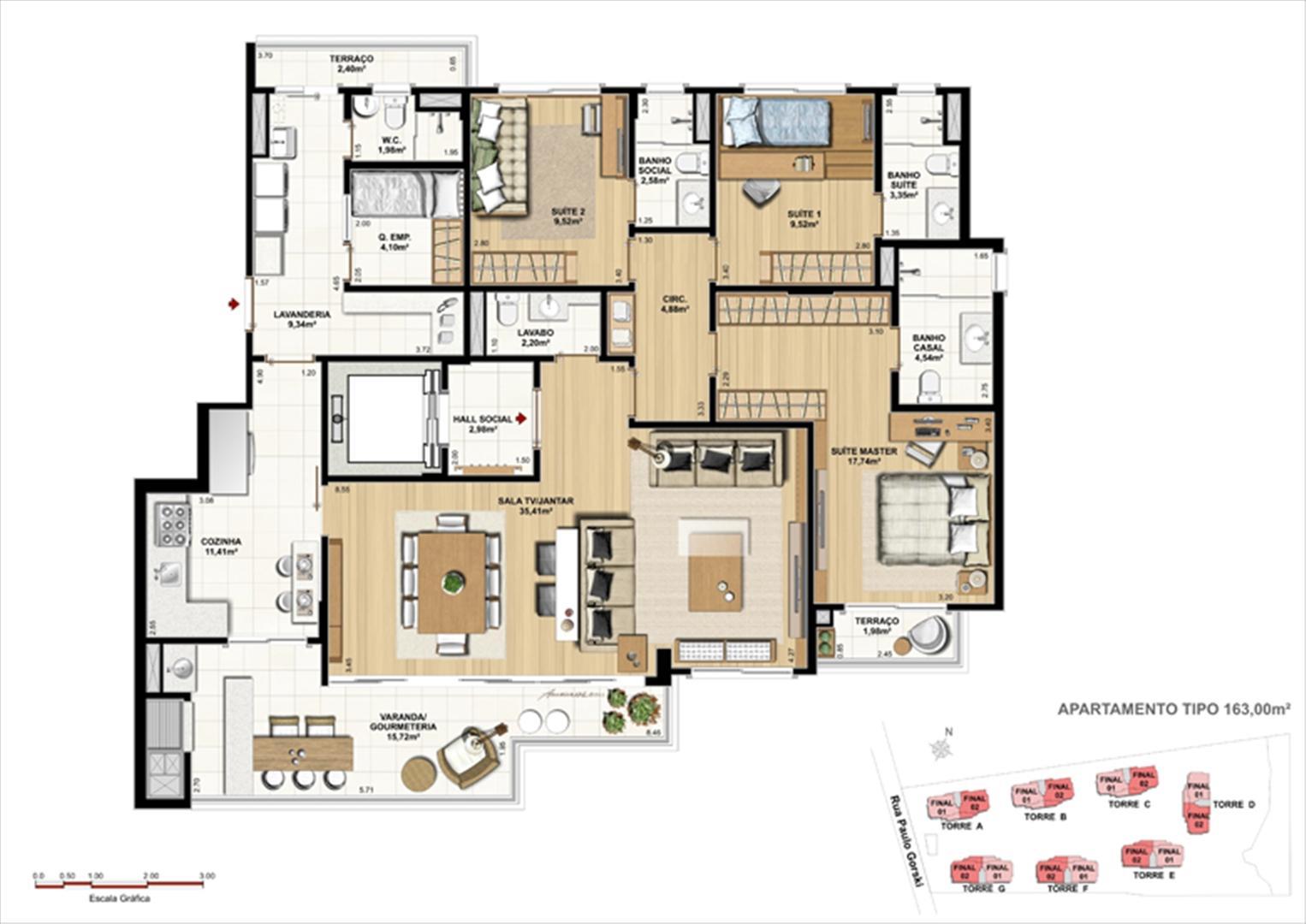 Padrão Tipo e Perspectiva ilustrada da implantação   Ópera Unique Home – Apartamento no  Ecoville - Curitiba - Paraná