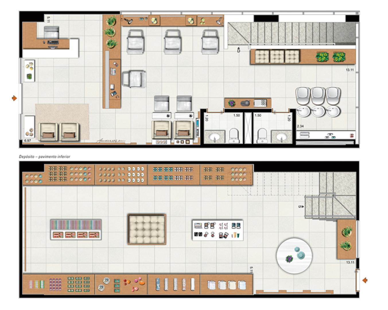 Planta de 104 m² privativos duplex | Vega – Salas Comerciais na  Asa Norte  - Brasília - Distrito Federal