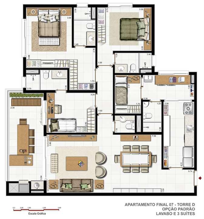 Torre B   F02   Opção padrão | Vitamare – Apartamentono  Abraão - Florianópolis - Santa Catarina