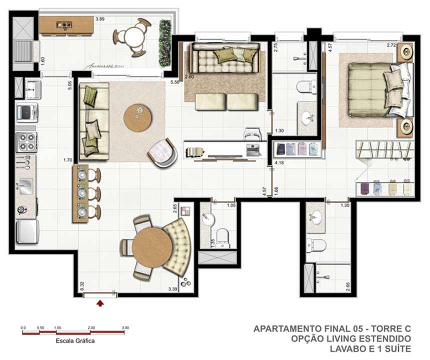 Torre C   F05   Opção living estendido | Vitamare – Apartamentono  Abraão - Florianópolis - Santa Catarina