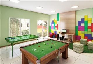 Perspectiva ilustrada da sala de jogos