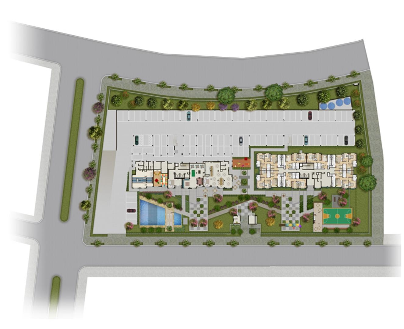 Perspectiva ilustrada da implantação | Grand Square Zona Norte – Apartamento no  Sarandí - Porto Alegre - Rio Grande do Sul