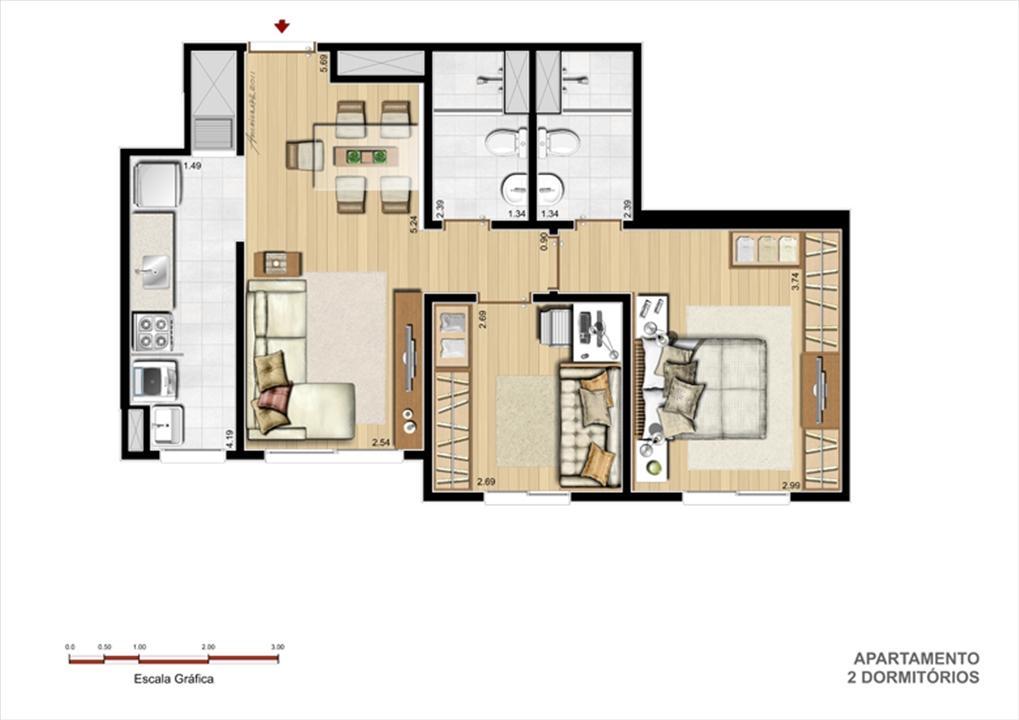 Planta Apto. 2 Dorm. com suíte 56 m² | Grand Square Zona Norte – Apartamentono  Sarandí - Porto Alegre - Rio Grande do Sul