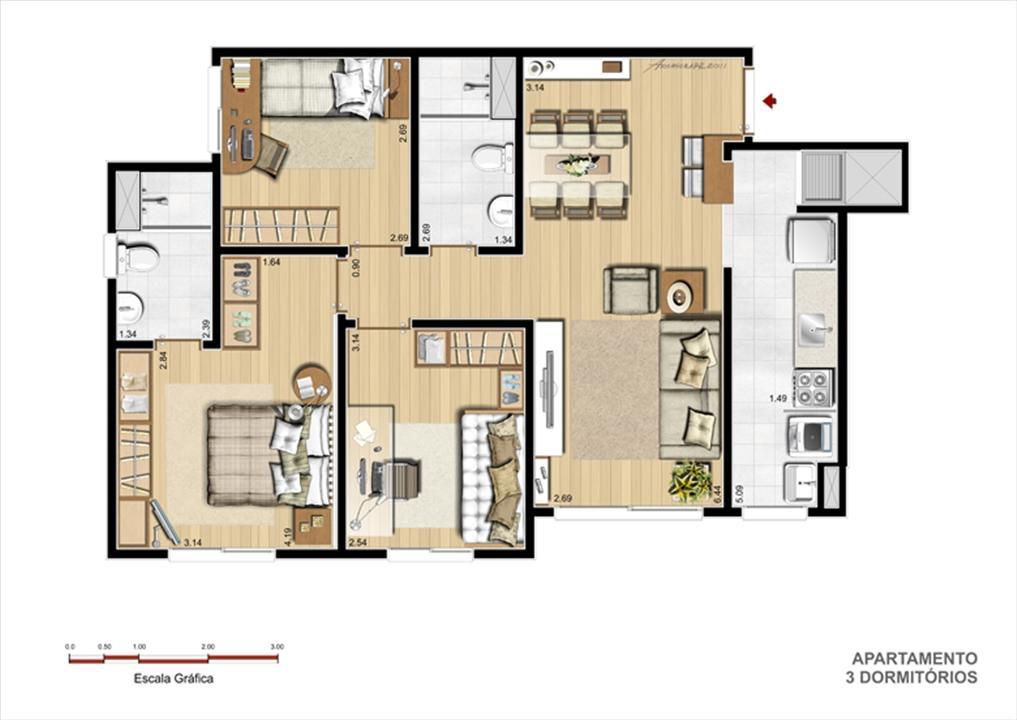Planta Apto. 3 Dorm. com suíte 71 m² | Grand Square Zona Norte – Apartamentono  Sarandí - Porto Alegre - Rio Grande do Sul