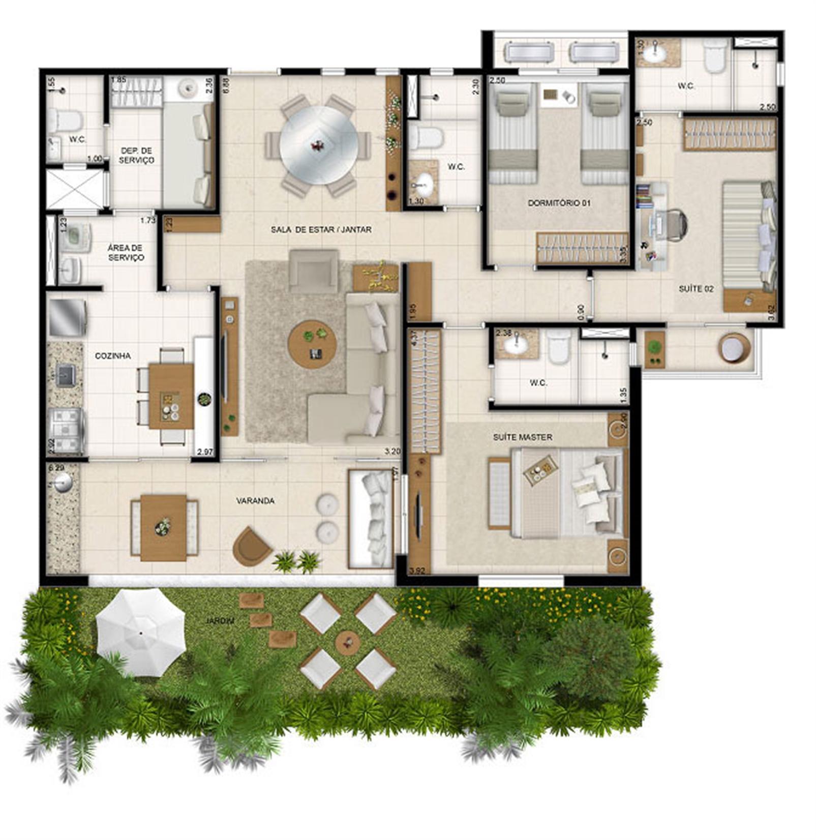 Perspectiva ilustrada da planta Mason Makani 113 m² | Mandara Kauai – Apartamentono  Porto das Dunas - Aquiraz - Ceará