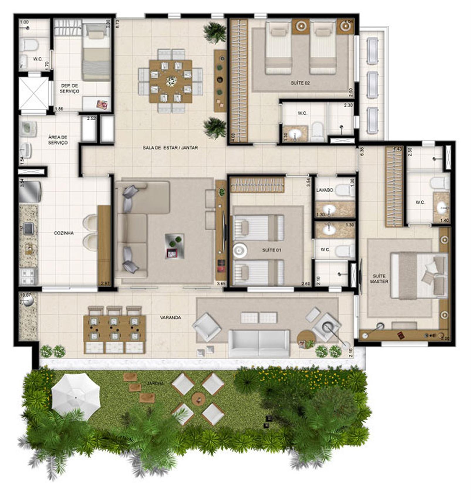 Perspectiva ilustrada da planta Mason Moana 148 m² | Mandara Kauai – Apartamentono  Porto das Dunas - Aquiraz - Ceará