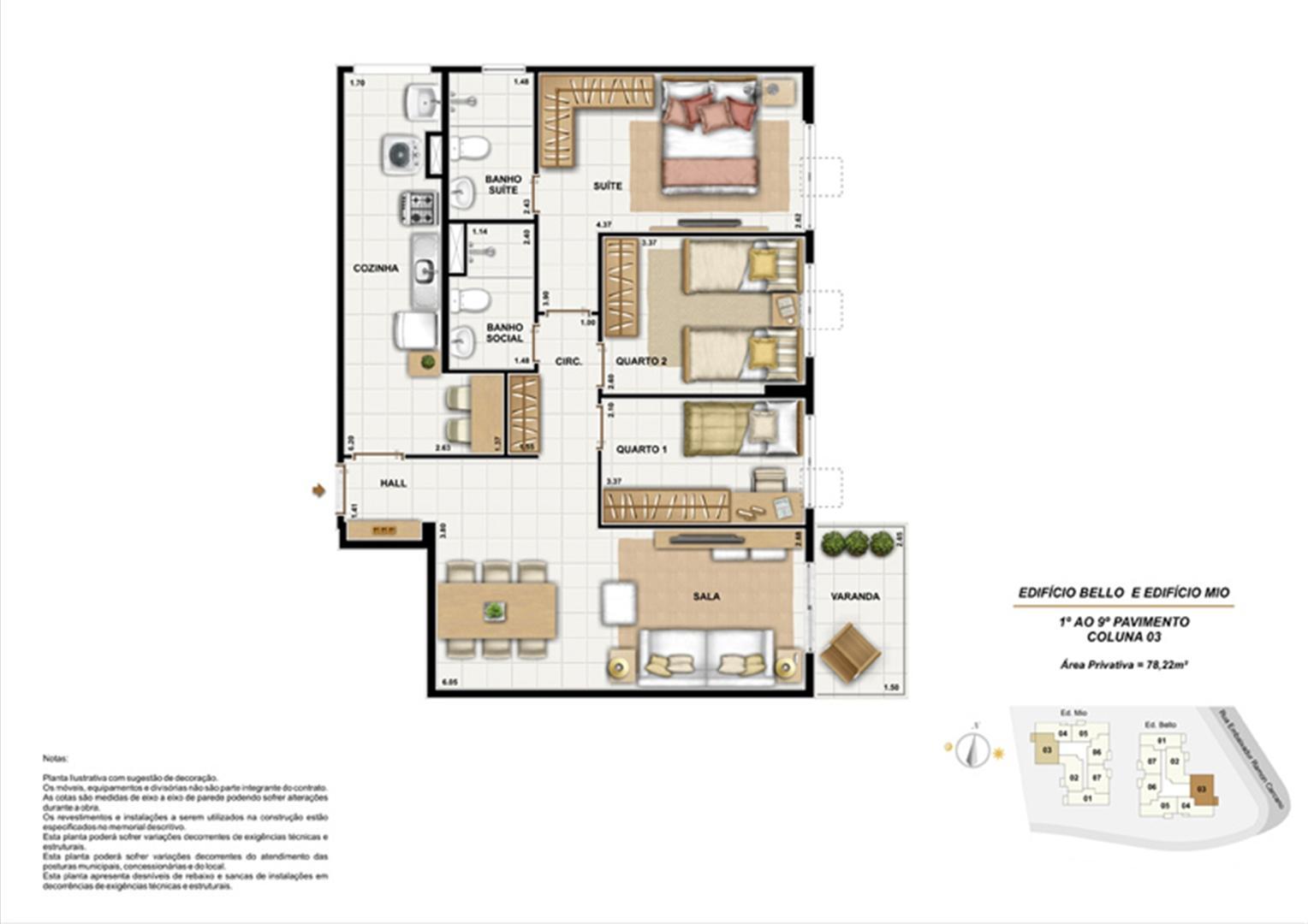 Ed. Bello e Mio 1º ao 9º Pavimento Coluna 3 | Adorabile Tijuca – Apartamento na  Tijuca - Rio de Janeiro - Rio de Janeiro