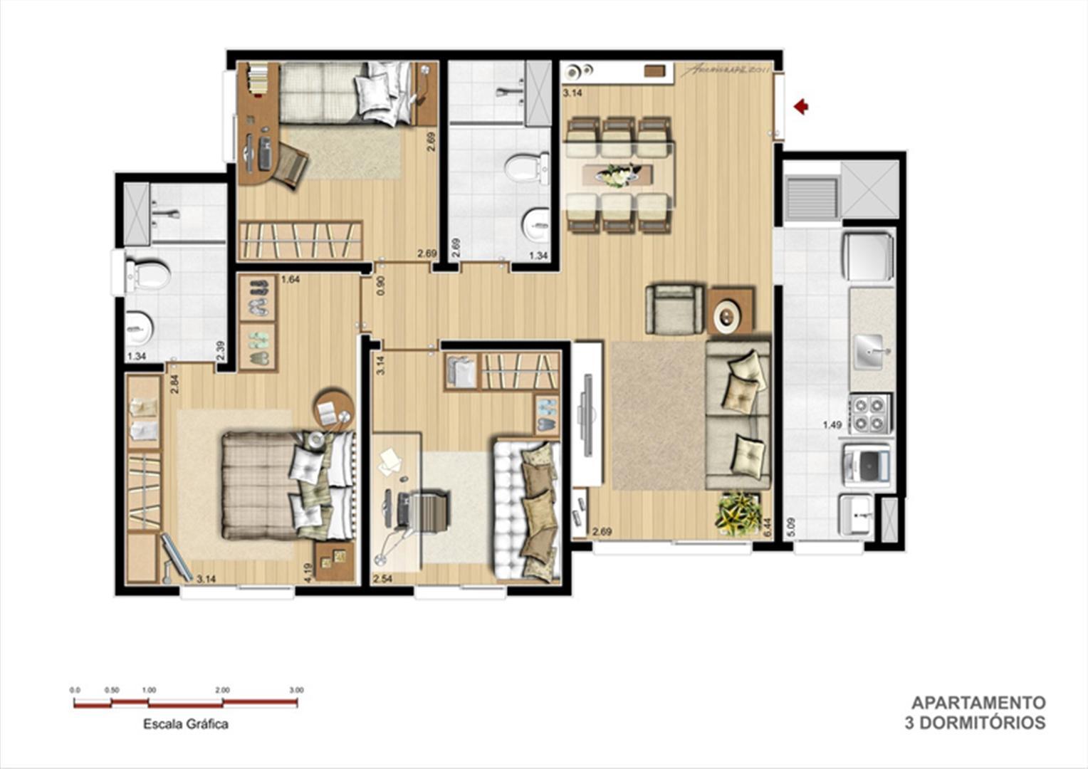 Torre A - Tipo 3 dormitórios | Supera Condomínio Clube – Apartamento na  Cavalhada - Porto Alegre - Rio Grande do Sul