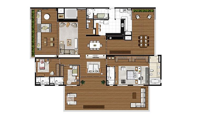 Apartamento com varanda 398m², opção 3 suítes com suíte master ampliada | Artisan Campo Belo – Apartamento no  Campo Belo - São Paulo - São Paulo