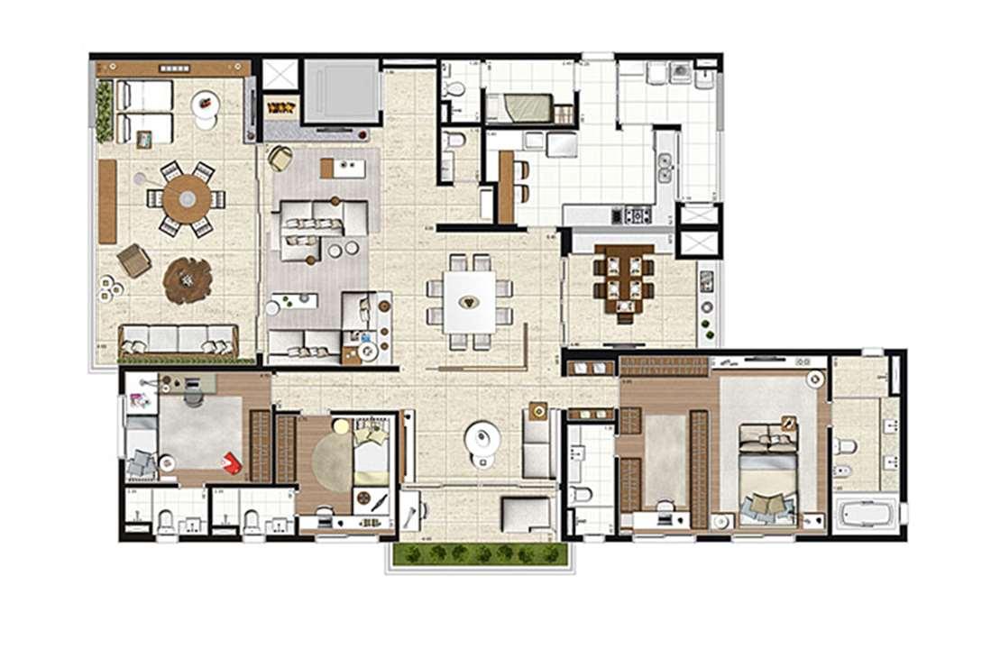 Apartamento Tipo 275m², opção 3 suítes com suíte master ampliada, 4 vagas | Artisan Campo Belo – Apartamentono  Campo Belo - São Paulo - São Paulo