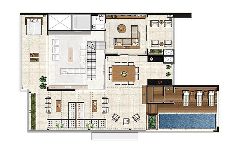 Cobertura Duplex 500m², planta pavimento superior, 4 suítes, 6 vagas | Artisan Campo Belo – Apartamento no  Campo Belo - São Paulo - São Paulo