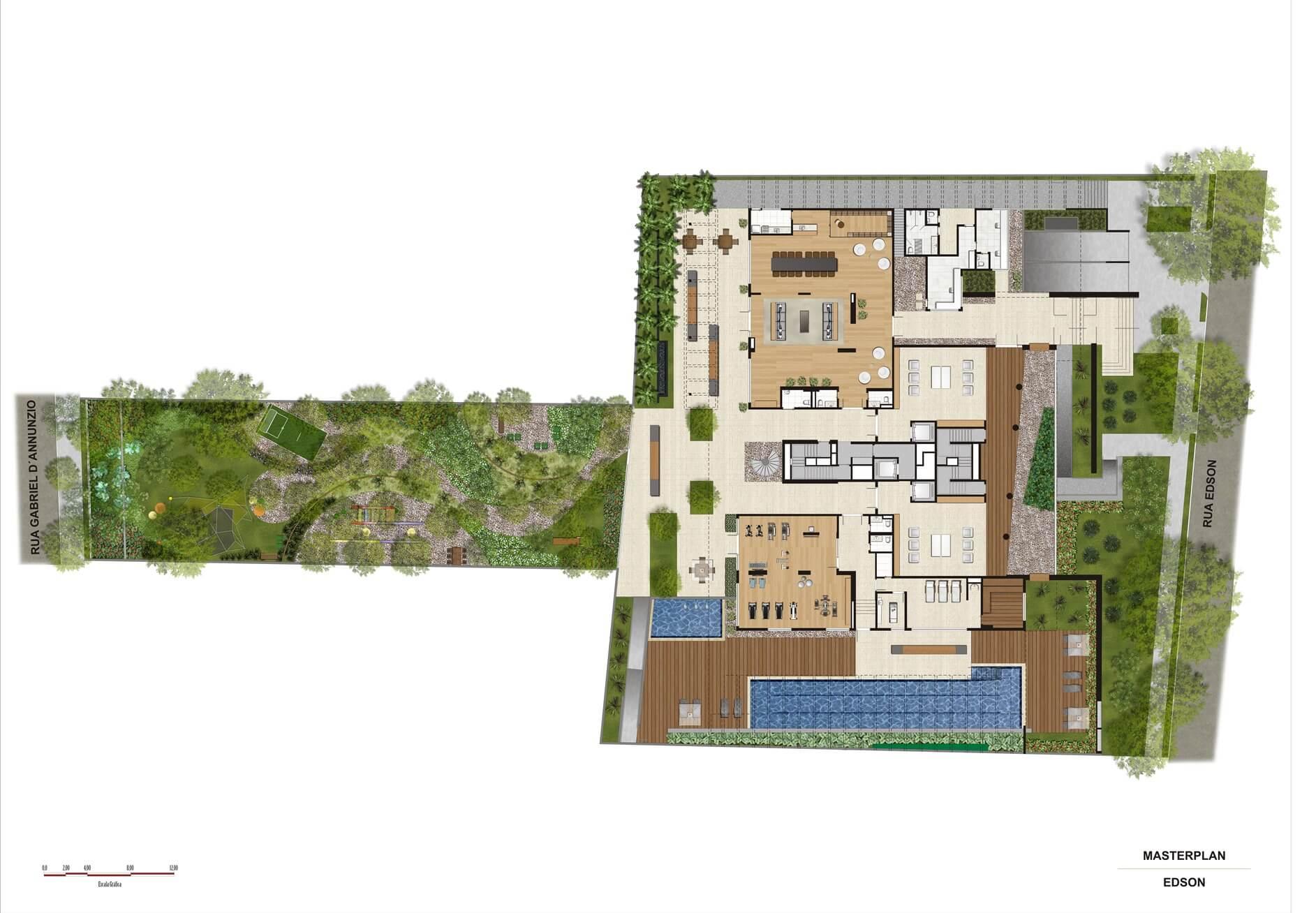 Perspectiva ilustrada da Implantação | Artisan Campo Belo – Apartamento no  Campo Belo - São Paulo - São Paulo