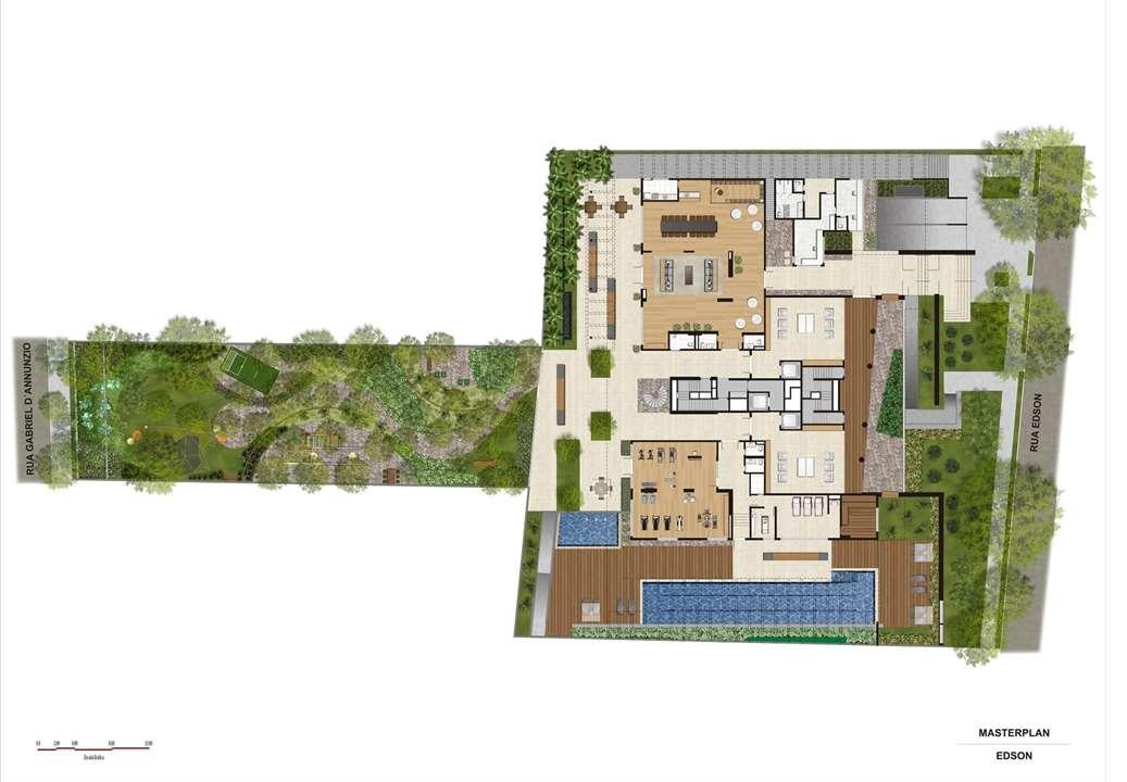 Perspectiva ilustrada da Implantação | Artisan Campo Belo – Apartamentono  Campo Belo - São Paulo - São Paulo