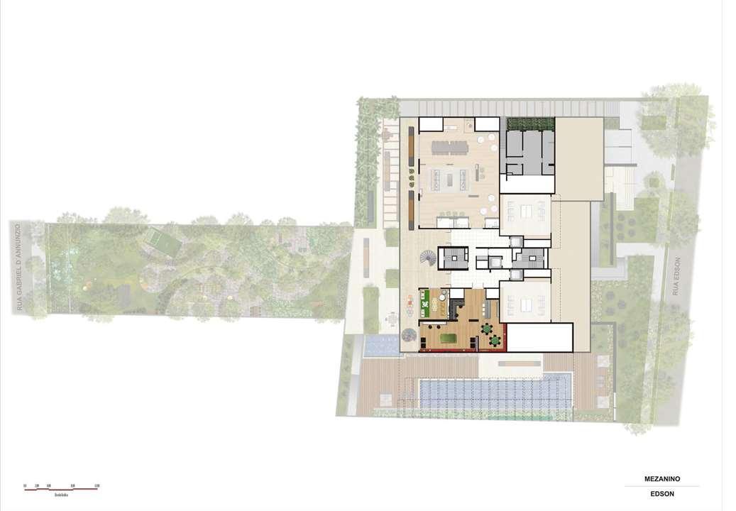 Perspectiva ilustrada da implantação Mezanino | Artisan Campo Belo – Apartamentono  Campo Belo - São Paulo - São Paulo