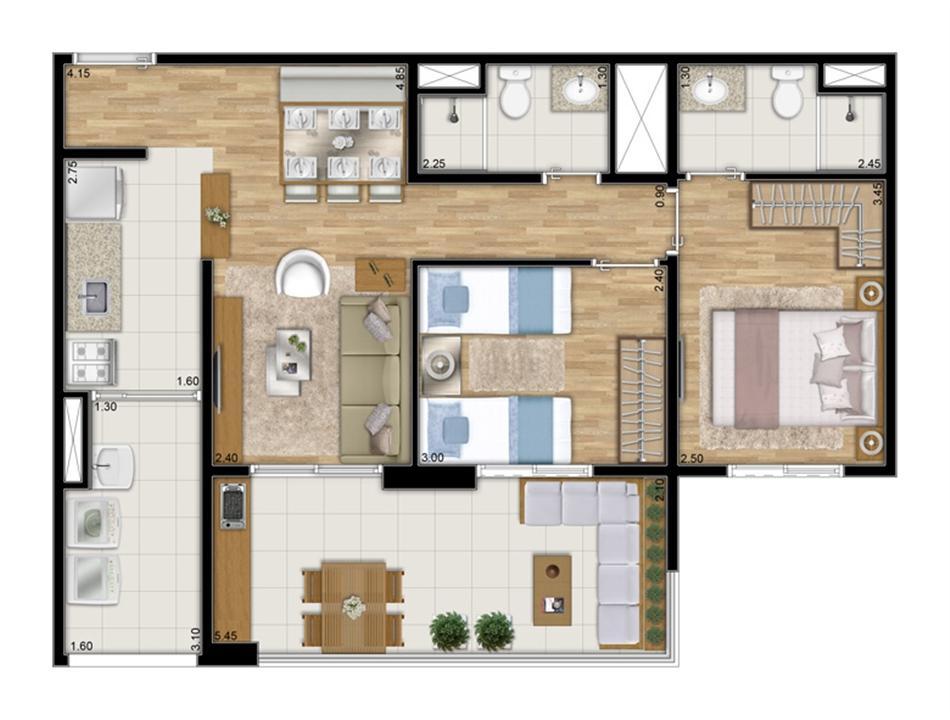Planta tipo ilustrada do apartamento de 68 m² privativos - 2 dorms. c 1 suíte | Varanda Ipiranga – Apartamentono  Ipiranga - São Paulo - São Paulo