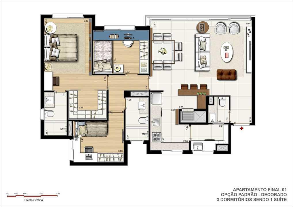3 dormitórios sendo um suíte (com closet), lavabo e churrasqueira. | Pedra Bonita – Apartamentoem  Ipanema - Porto Alegre - Rio Grande do Sul