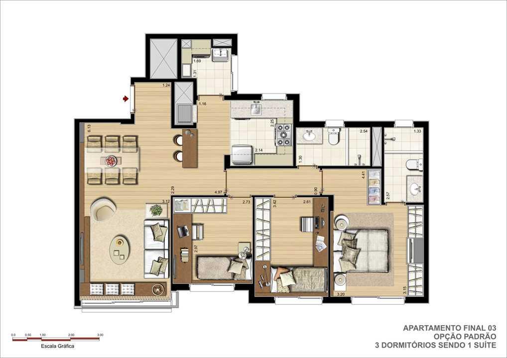 3 dormitórios sendo um suíte e churrasqueira. | Pedra Bonita – Apartamentoem  Ipanema - Porto Alegre - Rio Grande do Sul
