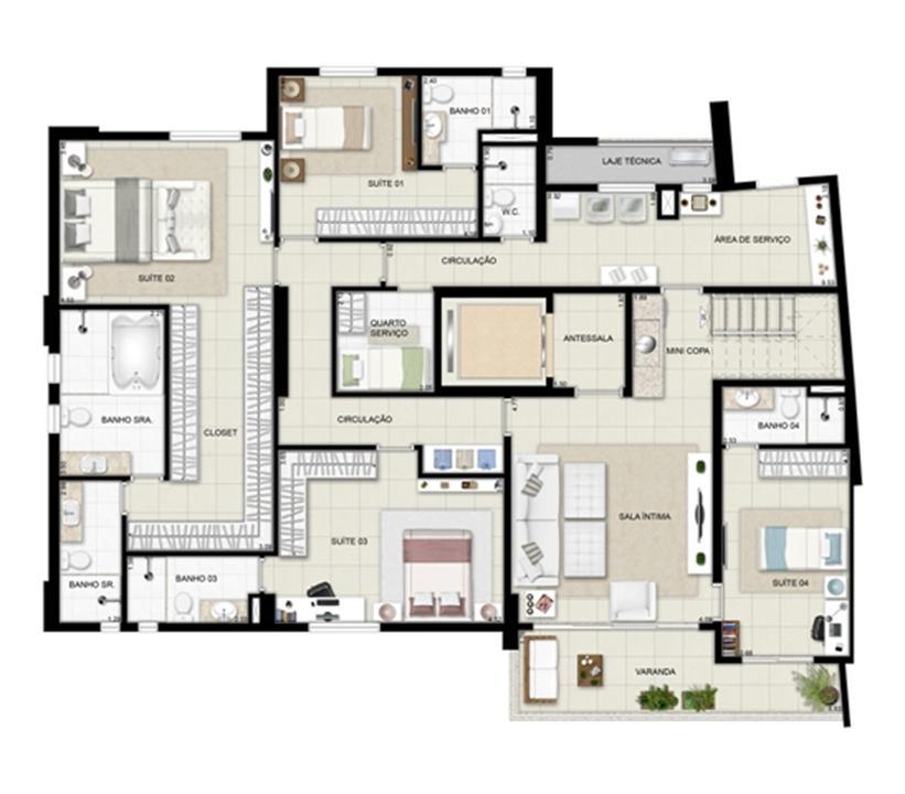 Planta duplex inferior - Torre Boulevard - Final 01 390 m² | Chateau Marista LifeStyle – Apartamentono  Setor Marista - Goiânia - Goiás