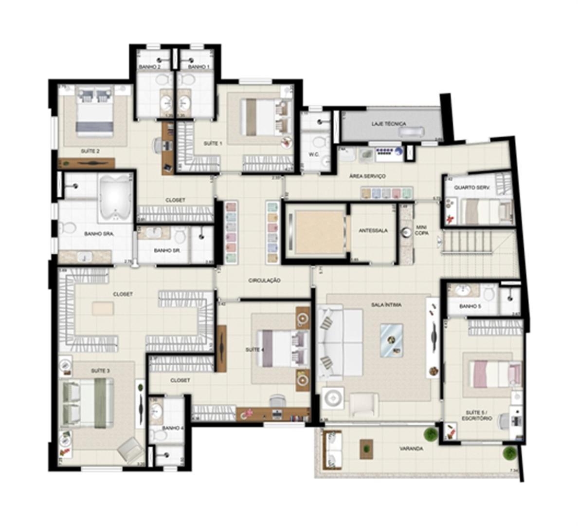 Planta duplex inferior - Torre Parc - Final 01 461 m² | Chateau Marista LifeStyle – Apartamento no  Setor Marista - Goiânia - Goiás