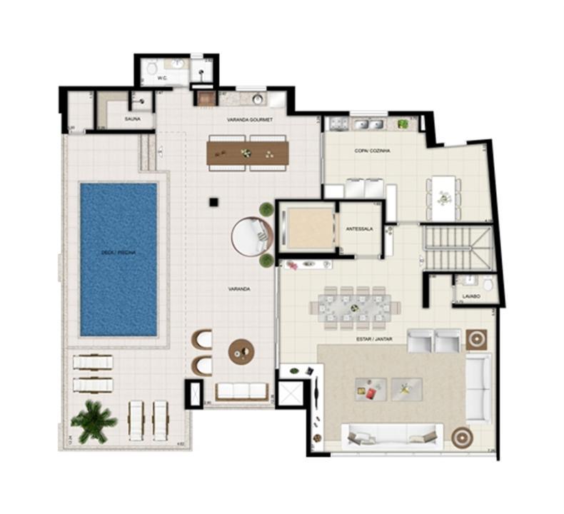 Planta duplex superior - Torre Parc - Final 01 461 m² | Chateau Marista LifeStyle – Apartamentono  Setor Marista - Goiânia - Goiás