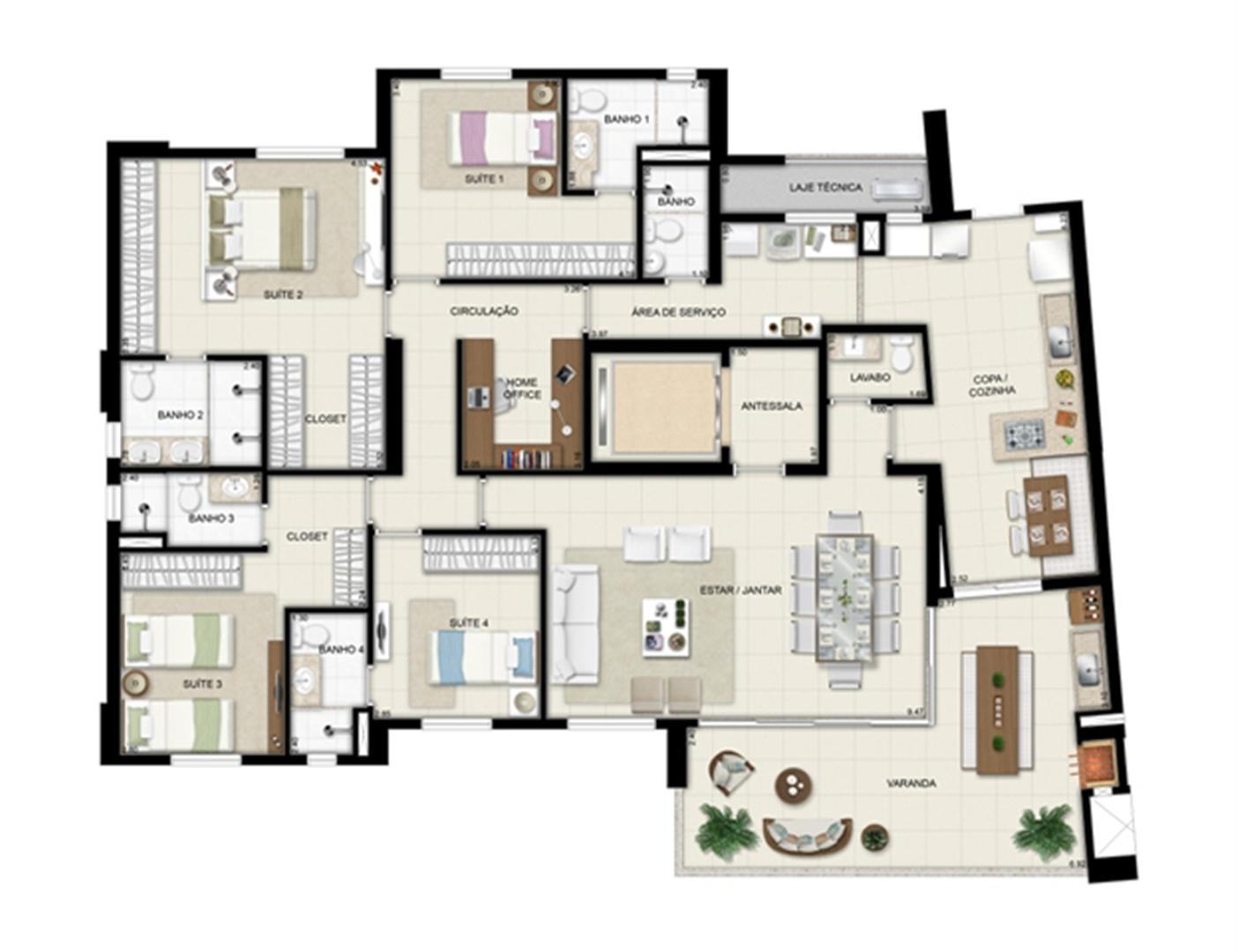 Planta opção - Torre Boulevard - Final 01 198 m² (2) | Chateau Marista LifeStyle – Apartamento no  Setor Marista - Goiânia - Goiás