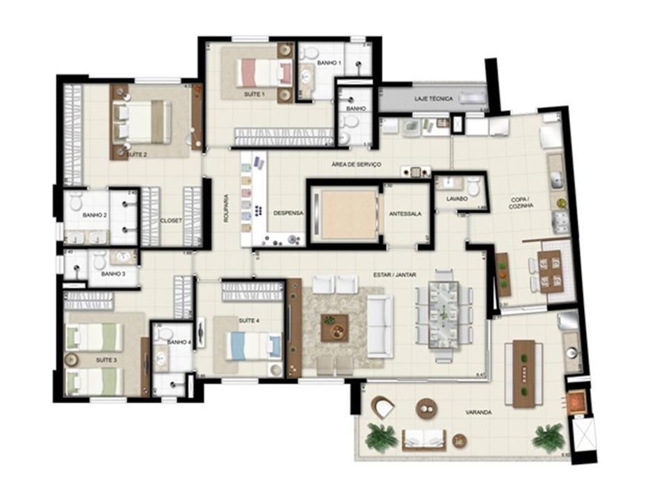 Planta opção - Torre Boulevard - Final 01 198 m² (3) | Chateau Marista LifeStyle – Apartamentono  Setor Marista - Goiânia - Goiás