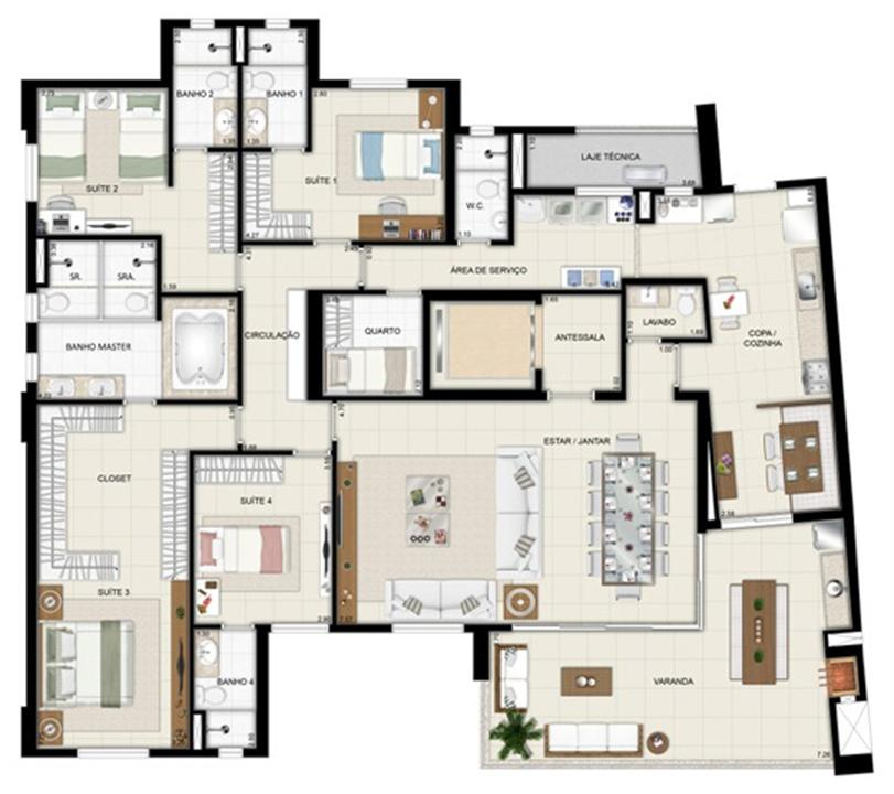 Planta opção - Torre Parc - Final 01 233 m² (2) | Chateau Marista LifeStyle – Apartamentono  Setor Marista - Goiânia - Goiás