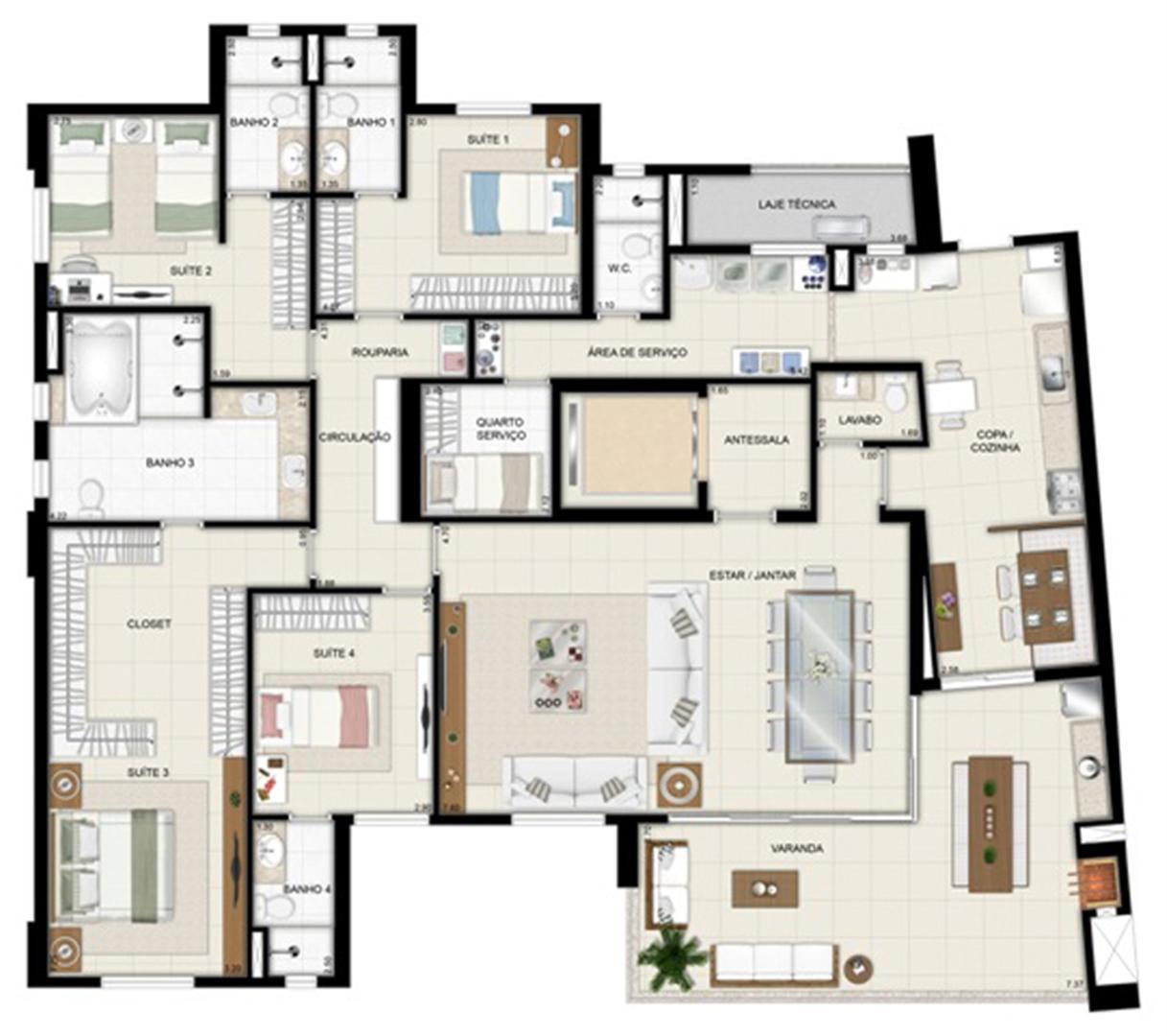 Planta opção - Torre Parc - Final 01 233 m² (3) | Chateau Marista LifeStyle – Apartamento no  Setor Marista - Goiânia - Goiás