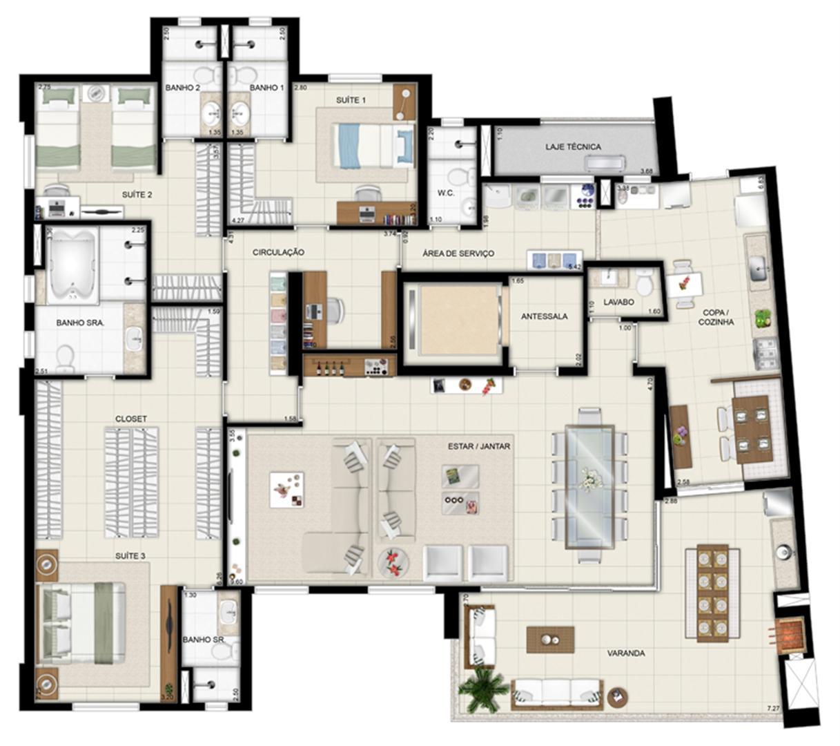 Planta opção - Torre Parc - Final 01 233 m² | Chateau Marista LifeStyle – Apartamento no  Setor Marista - Goiânia - Goiás