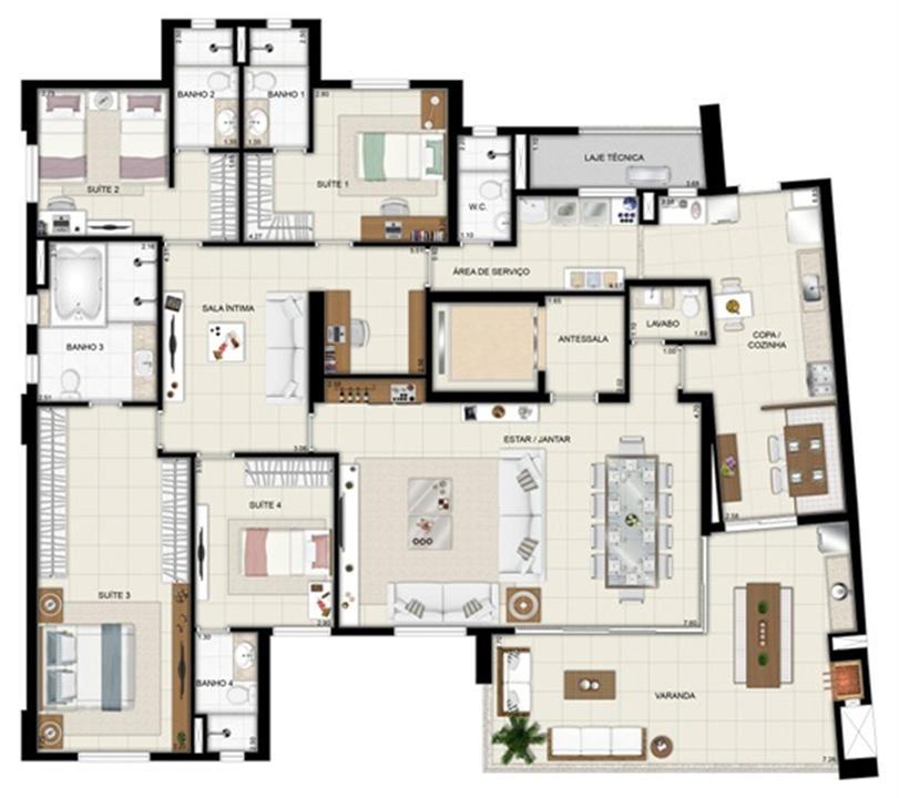 Planta opção - TorreParc - Final 01 233 m² | Chateau Marista LifeStyle – Apartamentono  Setor Marista - Goiânia - Goiás