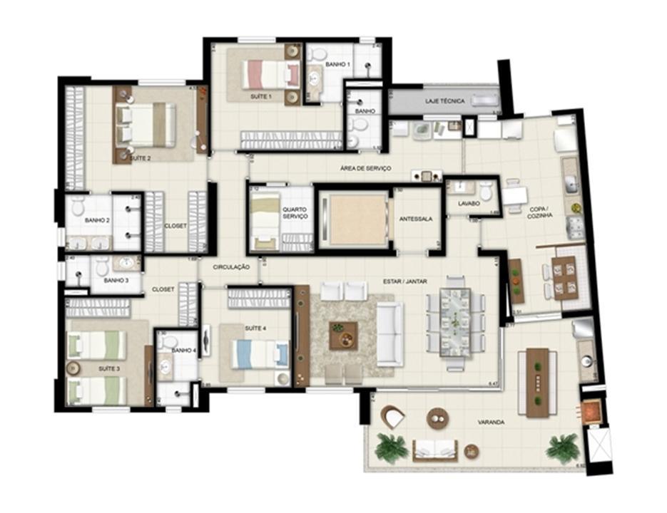Planta tipo - Torre Boulevard - Final 01 198 m² | Chateau Marista LifeStyle – Apartamentono  Setor Marista - Goiânia - Goiás