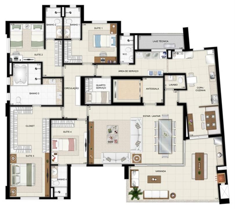 Planta tipo - TorreParc - Final 01 233 m² | Chateau Marista LifeStyle – Apartamentono  Setor Marista - Goiânia - Goiás