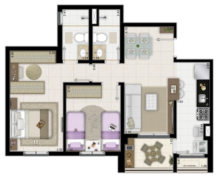 2 dormitórios com 1 suíte - 63m² | Way Orquidário – Apartamentono  Orquidário - Santos - São Paulo