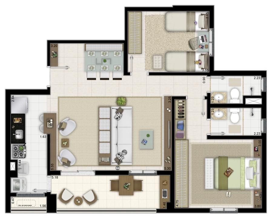 2 dormitórios com 1 suíte – Sala ampliada - 84m² | Way Orquidário – Apartamentono  Orquidário - Santos - São Paulo