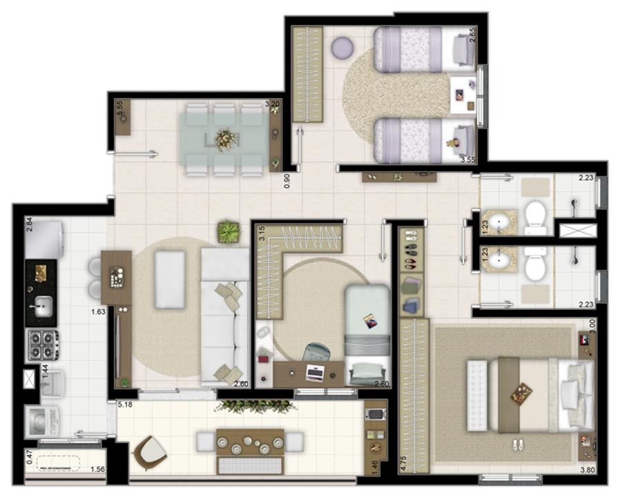 3 dormitórios com 1 suíte - 84m² | Way Orquidário – Apartamentono  Orquidário - Santos - São Paulo