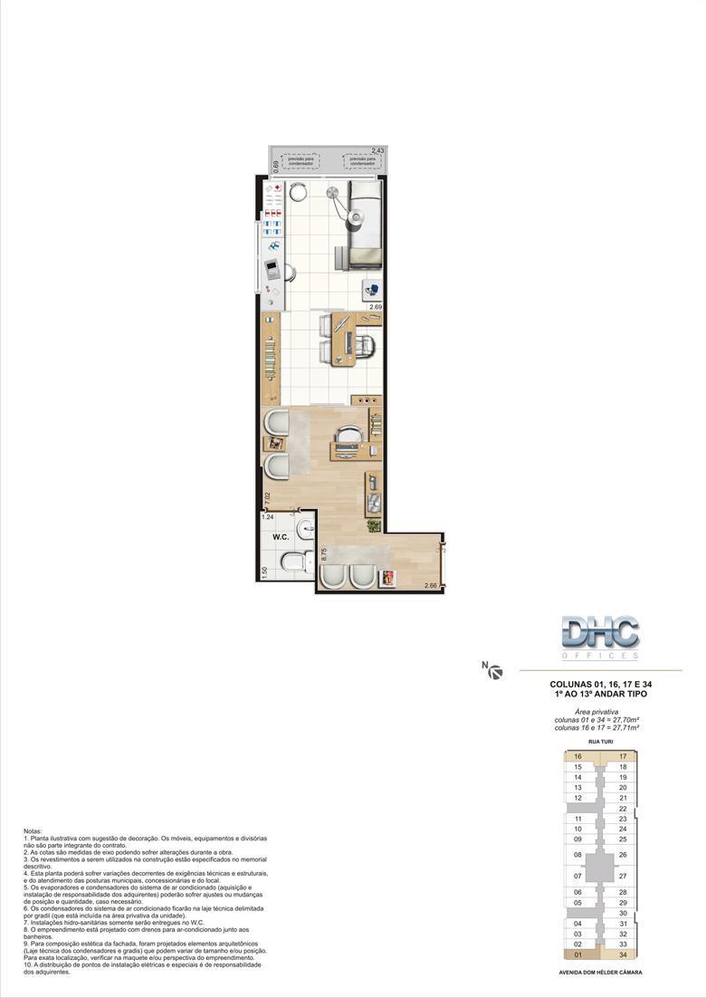 Colunas 01, 16, 17 e 34 -1° ao 13º andar tipo | DHC Offices – Salas Comerciais em  Pilares - Rio de Janeiro - Rio de Janeiro