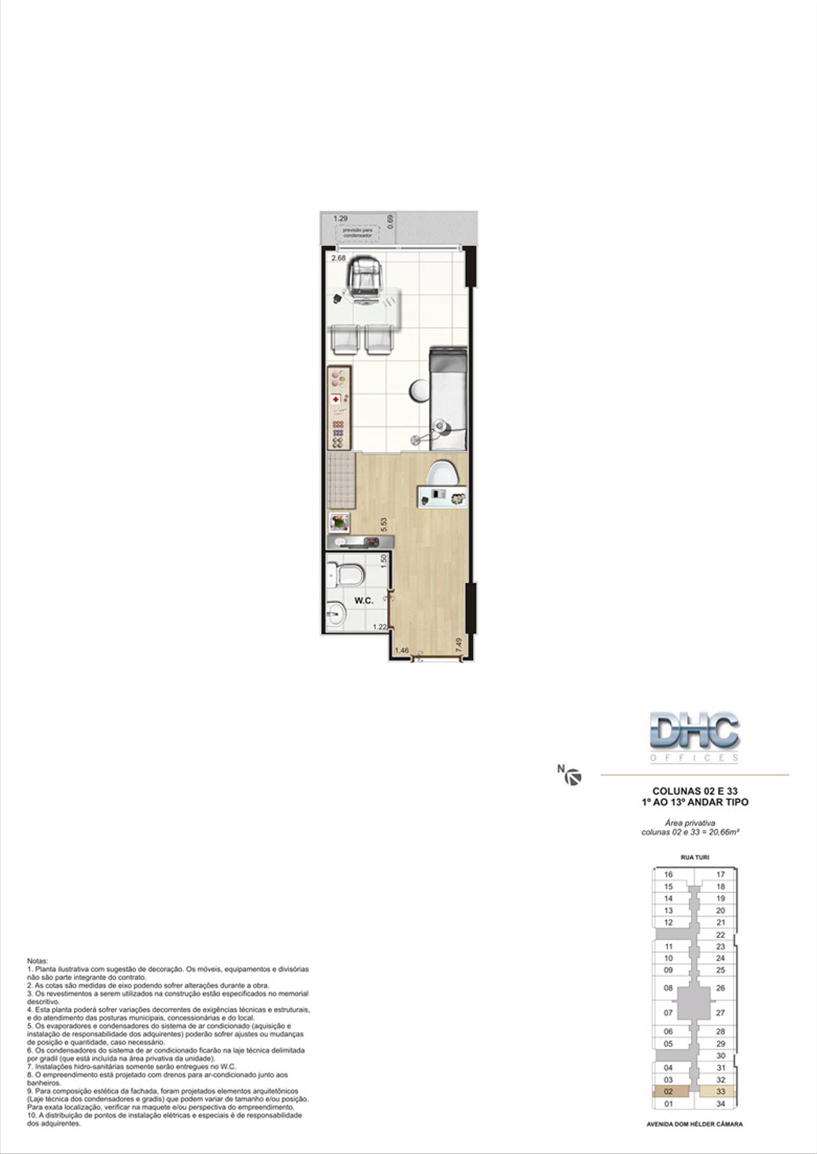 Colunas 02 e 33 -1° ao 13º andar tipo | DHC Offices – Salas Comerciaisem  Pilares - Rio de Janeiro - Rio de Janeiro
