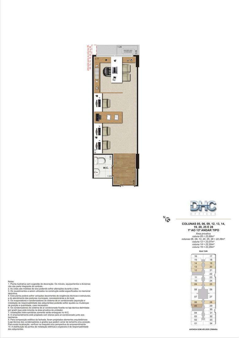 Colunas 05, 06, 09, 12, 13, 14, 19, 20, 25 e 28 -1° ao 13º andar tipo | DHC Offices – Salas Comerciais em  Pilares - Rio de Janeiro - Rio de Janeiro