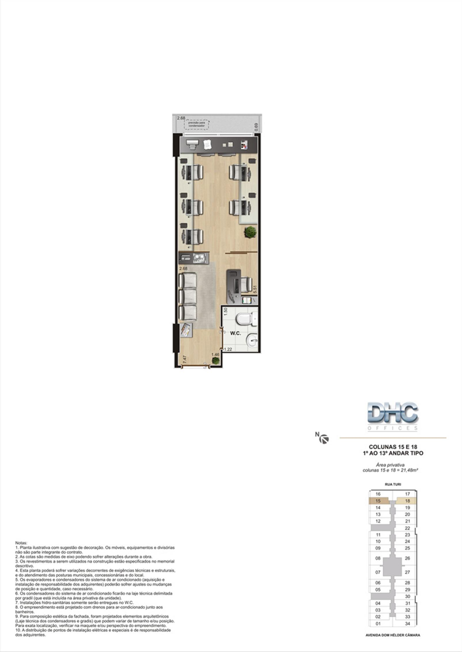 Colunas 15 e 18 -1° ao 13º andar tipo | DHC Offices – Salas Comerciaisem  Pilares - Rio de Janeiro - Rio de Janeiro